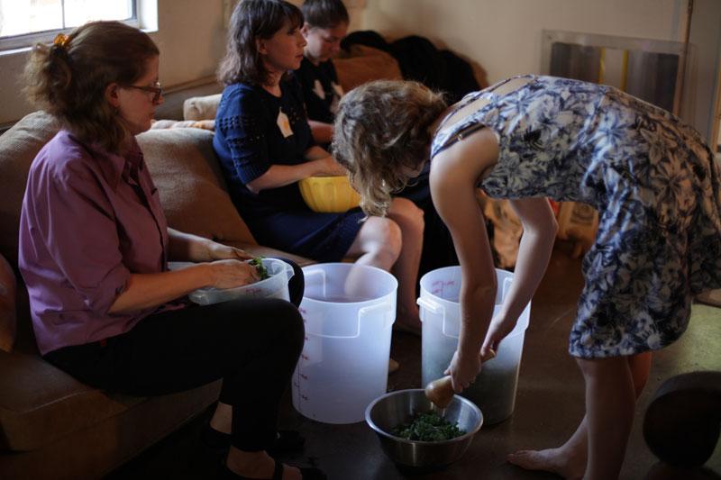 Massaging kale was a group effort